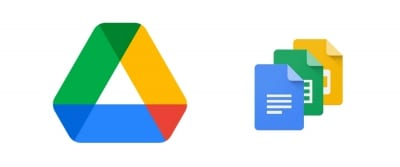 Logo for Google Drive on the left and logos for Google Docs, Sheets, and Slides on the right.