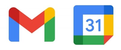 Gmail icon on the left and the Google calendar icon on the right on a white background.