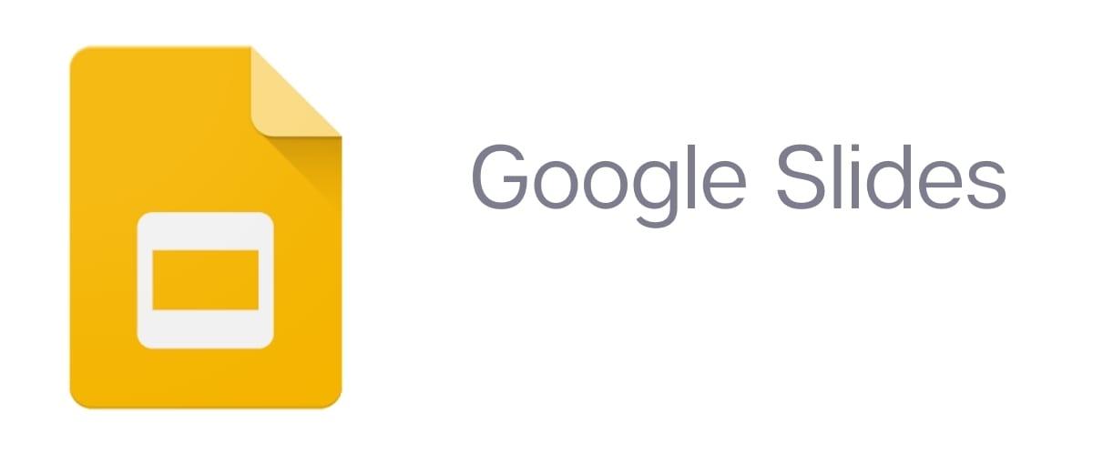 Yellow Google Slides logo next to the left of the text Google Slides